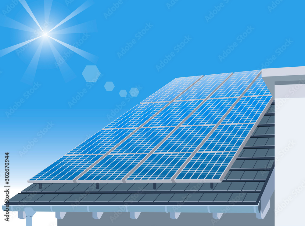 Fototapety, obrazy: Solar Panel on Home Roof and Blue Sky