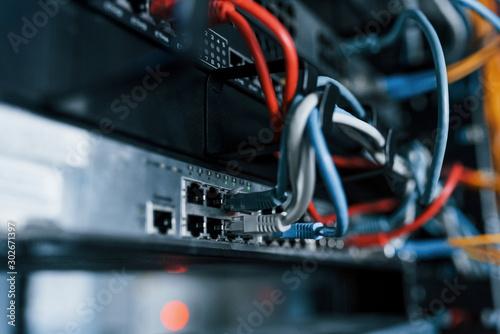 Close up view of internet equipment and cables in the server room Tapéta, Fotótapéta