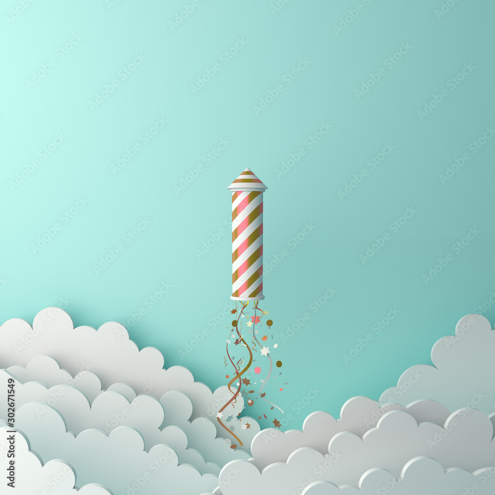 Fototapety, obrazy: Happy New Year design creative concept, firework rocket, glittering confetti, cloud on green mint background. Copy space text area, 3D rendering illustration.