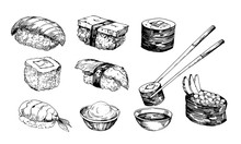 Sushi Sketch. Hand Drawn Illus...