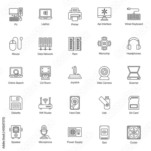 Cuadros en Lienzo  Computer Hardware Line Icons Pack
