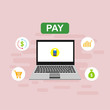 online payment online concept. Internet payments, protection money transfer, online bank vector illustration Can be used for workflow layout template, banner, marketing, infographics.