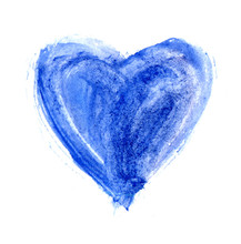 Hand-drawn Painted Light Blue Heart. Beautiful Grunge Heart. Valentine's Day. For Holiday, Postcard, Poster, Banner, Birthday And Children's Illustration. Love