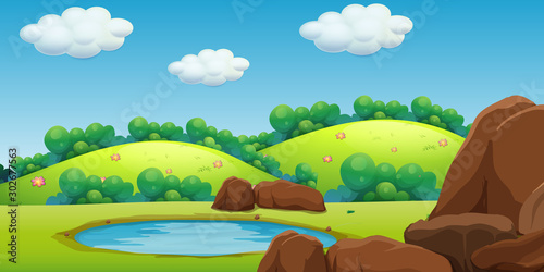 Spoed Foto op Canvas Kids Scene with green mountains and little pond