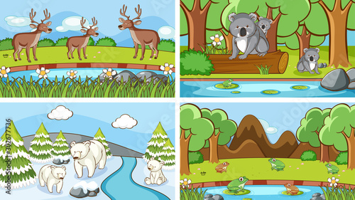 Spoed Foto op Canvas Kids Background scenes of animals in the wild