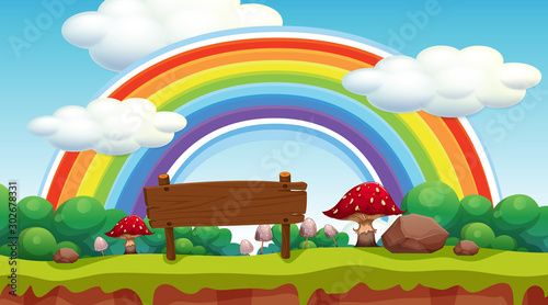 Poster Jeunes enfants Scene with rainbow in the park