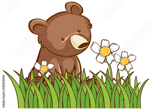 Poster Jeunes enfants Isolated picture of cute bear in garden