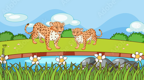 Poster Jeunes enfants Scene with cheetah in the field