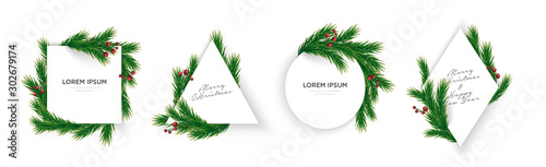Fototapeta Set of minimal christmas tree branches and cherry geometric frame eps10 vector template obraz
