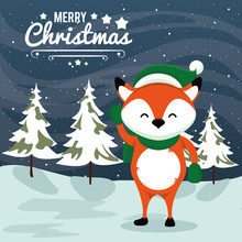 Happy Merry Christmas Card With Fox