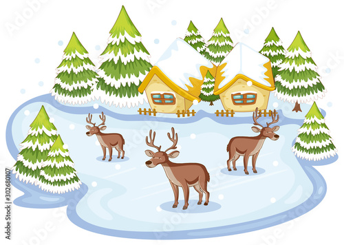 Foto op Plexiglas Kids Scene with deers in winter