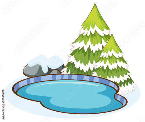 Foto op Plexiglas Kids Pond and pine trees on white backgrond