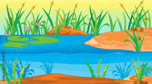 Foto op Plexiglas Kids Background scene with water lily in the pond
