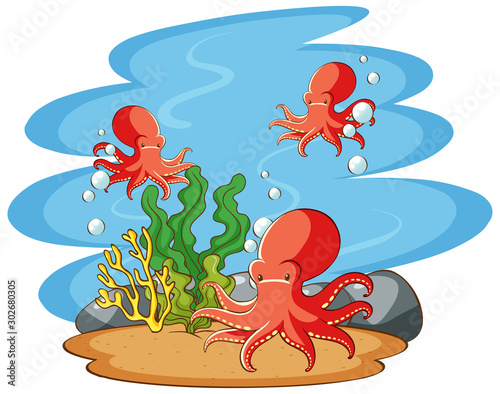 Poster de jardin Jeunes enfants Octopus swimming in the sea