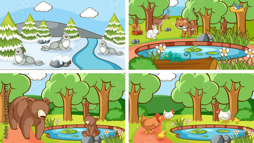 Foto op Plexiglas Kids Background scenes of animals in the wild