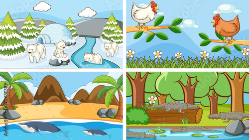 Poster de jardin Jeunes enfants Background scenes of animals in the wild