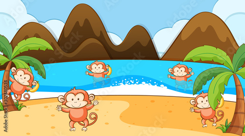Foto op Plexiglas Kids Scene with monkey playing on the beach