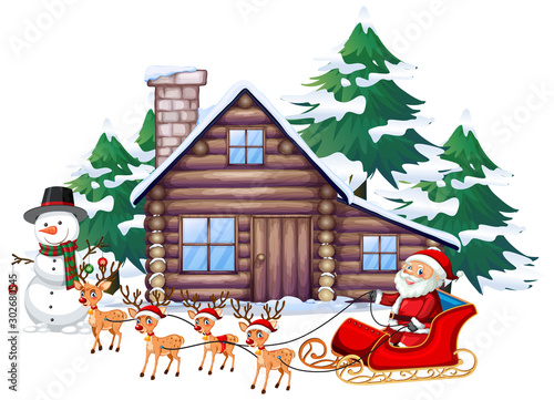 Poster de jardin Jeunes enfants Christmas scene with Santa on sleigh
