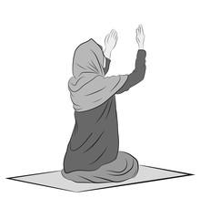 Muslim Woman Is Praying. Vecto...