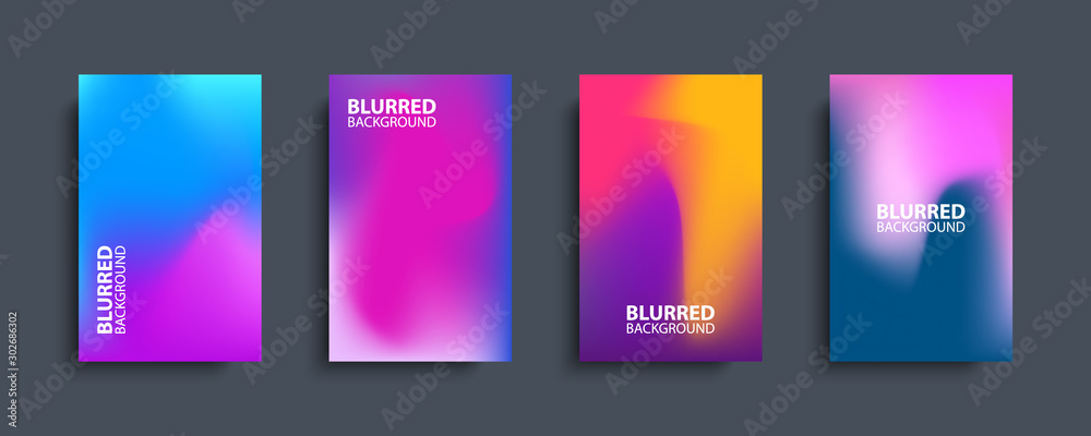 Fototapeta Blurred backgrounds set with modern abstract blurred color gradient patterns. Templates collection for brochures, posters, banners, flyers and cards. Vector illustration.