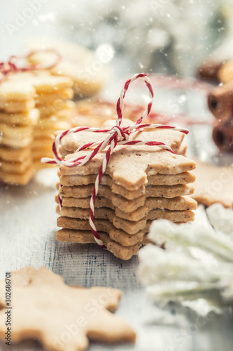 Christmas cookies stars as christmas decorations - Close up Canvas Print