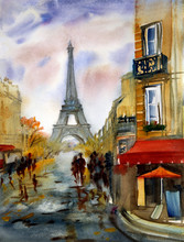 Watercolor Painting Of Paris Street With Eiffel Tower