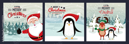 Obraz happy merry christmas card with cute characters - fototapety do salonu
