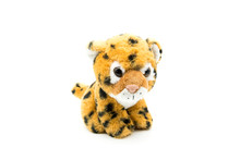 Soft Children's Toy Striped Tiger Isolated White Background