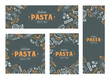 Pasta banners, cards design, vector hand drawn pasta elements design, set of various cards.