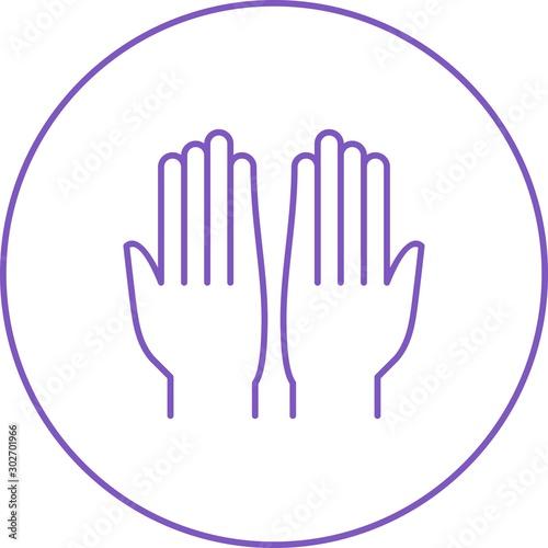 Fototapeta Beautiful Praying Hand Line Vector Icon obraz na płótnie