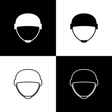 Set Military Helmet Icon Isolated On Black And White Background. Army Hat Symbol Of Defense And Protect. Protective Hat. Vector Illustration