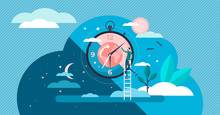 Daytime Cycle Tiny Person Flat Vector Illustration