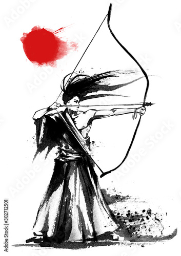 Photo A Japanese warrior archer stands in a kimono with a bow in his hands, pulls an arrow, on a white background with a red sun