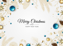 Christmas Banner. Background Xmas Design Of With Gifts Box, Snowflake And Confetti. Horizontal Christmas Poster, Greeting Cards, Headers, Website.