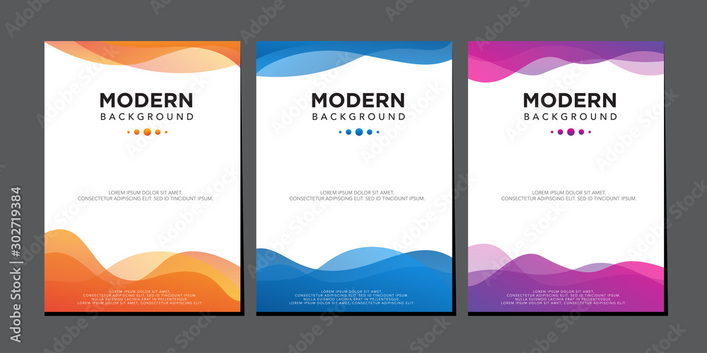 Fototapeta modern liquid wave colorful gradient cover design vector template