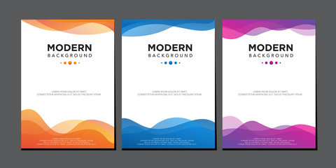 modern liquid wave colorful gradient cover design vector template