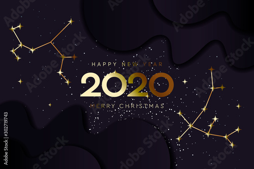 Happy New 2020 Year and Merry Christmas, constellation banner, vector illustration Wallpaper Mural