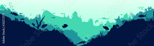 Autocollant pour porte Vert corail Sea scene with the underwater world. Coral reefs. Tropical sea with water mimicry and its inhabitants. Silhouette of fish and algae. Vector.