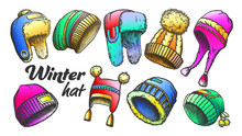 Winter Hat Clothing Accessory Retro Set Vector. Collection Of Woollen Hap With Fluffy Pompons And Fur, Earflap And Visor Engraving Concept Template Designed In Vintage Style Color Illustrations