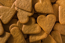 Heart Shaped Cookie Background. Valentine's Day And Mother's Day Concept.