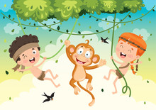 Happy Kids Swinging With Monke...