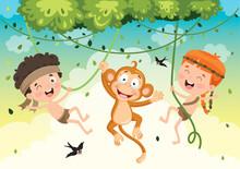 Happy Kids Swinging With Monke...