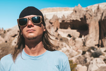 Portrait Of Man Tourist In Sun...