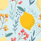 Cytryny i jagody wzór do druku, tkaniny, tkaniny. Ręcznie rysowane tła owoców cytrusowych. - 302729953