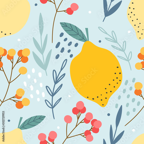 Lemons and berries seamless pattern for print, textile, fabric. Hand drawn citrus fruits background. - 302729953