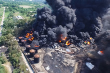 Oil Storage Fire. The Tank Far...