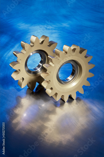 High precision gear wheel tool on a shiny background Canvas Print