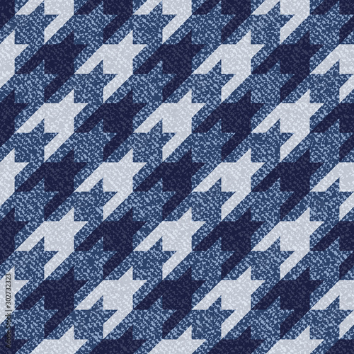 Jeans background with Houndstooth Tartan geometric print fashion design Wallpaper Mural