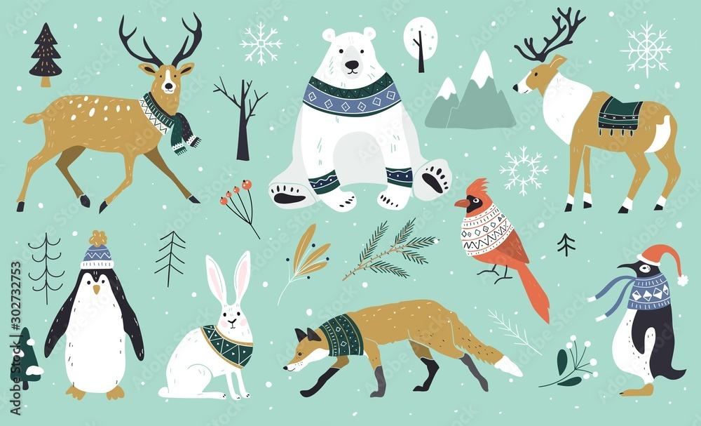 Fototapety, obrazy: Set of Christmas animals in the forest, bear, fox, hare, reindeer, penguin. Scandinavian style.Winter animals in a sweater and scarfs. Hand drawn characters cartoon flat design.