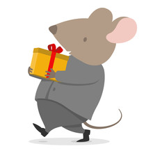 2020 New Year Rat Present Gift For Business Company Carrying Cute Cargo Box For Christmas In Space Grey Suite Costume And White Shirt. Mouse With Big Pink Ears Celebrating Company Party
